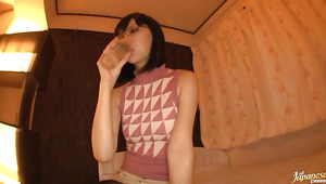 Slutty bosomed exotic Maki Amamiya lets playmate grope her